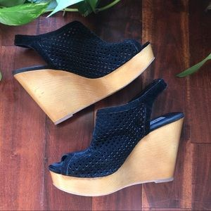 Steve massed black suede wedges